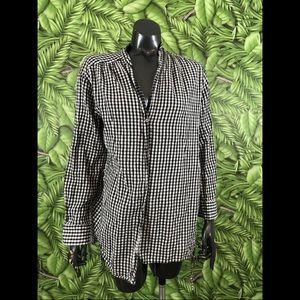 Zara Gingham Checkered Black Button Down Shirt